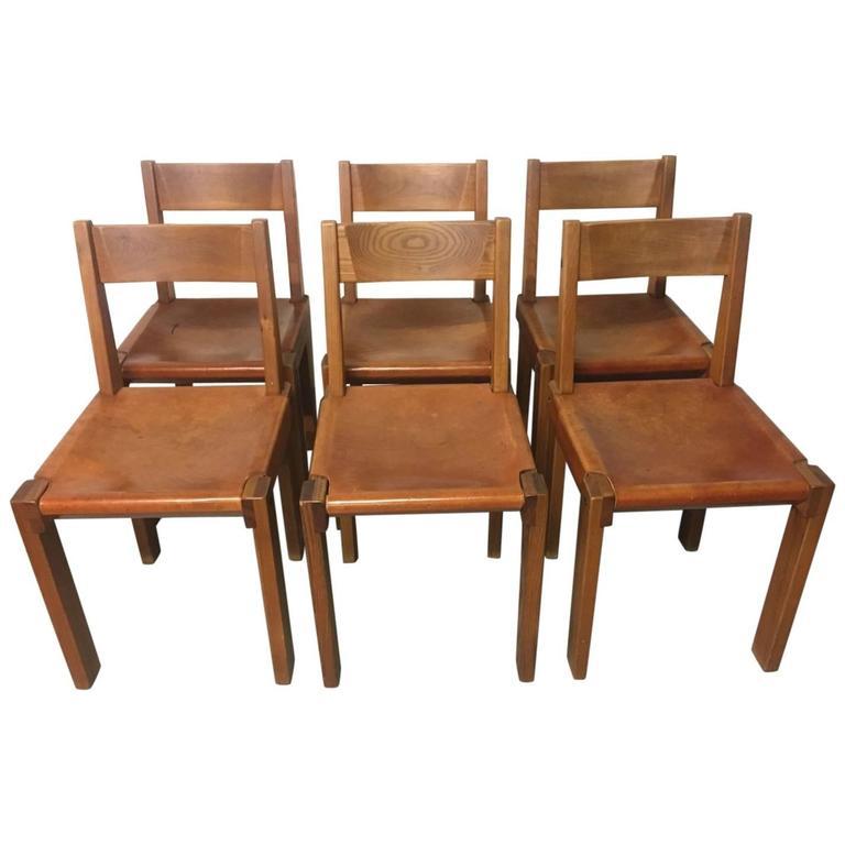 Pierre Chapo 6 chaises S24 orme massif
