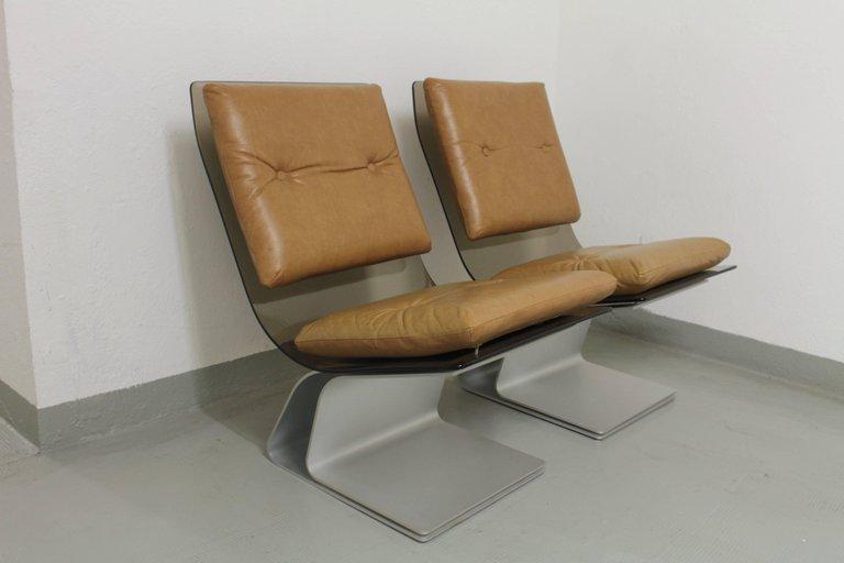 Maison Jansen Paire de Chaise en verre