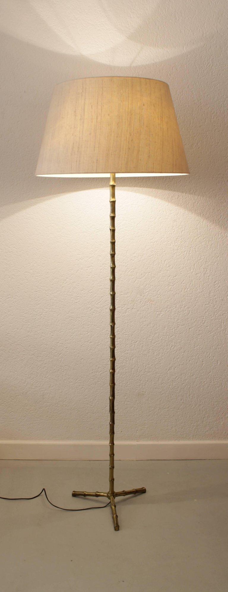 Maison Baguès attrib. Faux Bamboo Lampadaire